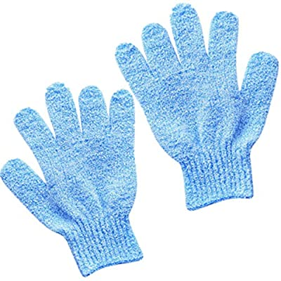 Bath Gloves for Shower, 1 Pair Natural Bamboo Exfoliating Wash Gloves for Body and Face, Both Gloves Body Shop for Adults and Kids (Blue)