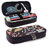 XCNGG Estuche para lápices neceser Wild Flower Pattern PU Leather Pencil Case School Office Use Zipper Stationery Organizer