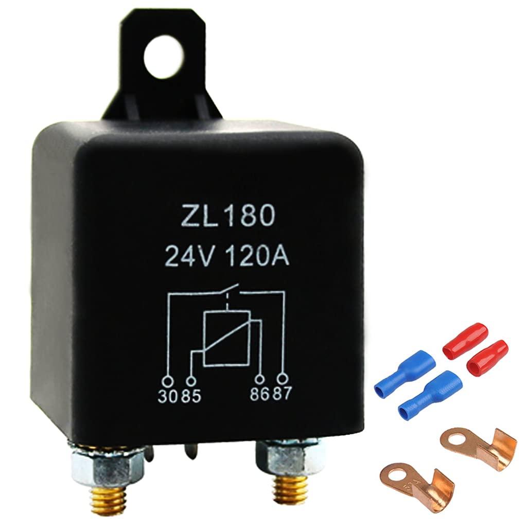 Relé separador de batería de 12 V/200 A, carga máxima, relé separador de batería, con 2 x superficie de soporte y 2 x terminales para coche, caravana