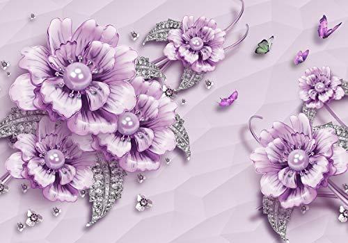 wandmotiv24 Fototapete Violett Blumen L 300 x 210 cm - 6 Teile Fototapeten, Wandbild, Motivtapeten, Vlies-Tapeten Luxus, Blüten, Diamanten M1647