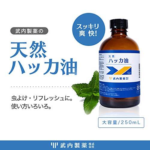 武内製薬ハッカ油250mL天然[お風呂虫除けアロマテラピーに便利な滴下式はっかオイルはっか油]