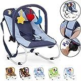 Babywippe - mit 3-Punkt-Sicherheitssystem, stabilem Metallrohr-Gestell, Schaukelfunktion, inkl. Spielbogen, 3 Spielzeuge, Farbwahl - Babyschaukel, Schaukelwippe, Babytrage