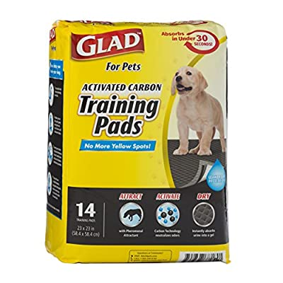 Glad for Pets Black Charcoal Puppy Pads   Puppy Potty Training Pads That ABSORB & NEUTRALIZE Urine Instantly   New & Improved Quality, 14 count