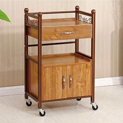 KKYY Beauty Salon vagn med tillbehörshållare vagn – kök catering förvaringsvagn med lådor och skåp – 50 x 35 x 85 cm (vit/brun/svart)