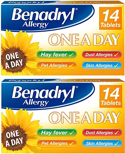 Benadryl Allergy One a Day 10 mg Tablets - Effective and Long Lasting Relief from Hay Fever, Pet, Skin and Dust Allergies - 28 Tablets 2 Pack