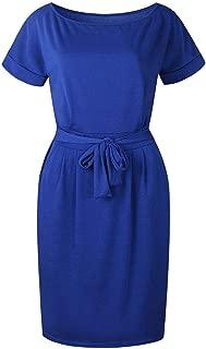 Jojckmen Women Short Sleeve Belted Solid Dress O-Neck Waist Belt Beach Casual Dress