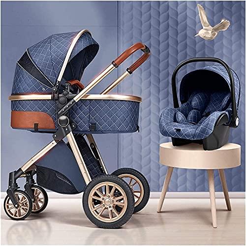 Chilequano Cochecito de bebé paraguas Carrito plegable, anti-shock Vista alta, cochecito de bebé de absorción de choque plegable, cochecito con bolsa de mamá y cubierta de intemperie, sistema de viaje