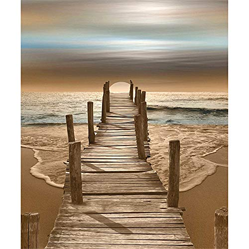 DIY Oil Painting by Numbers Kit Theme PBN Kit for Adults Girls Kids White Christmas Decor Decorations Gifts - Beach Wooden Bridge(Without Frame)