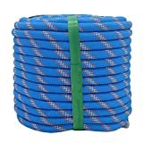 YUZENET Braided Polyester Arborist Rigging Rope (3/8' X 100') Strong Pulling Rope for Climbing Sailing Camping Swings,Blue/Orange/White