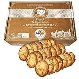 Galletas de Almendras Orgánicas & Veganas. Galletas Finas y Crujientes con Almendras Finas y Doradas, Fabricación Francesa y Artesanal. 200G