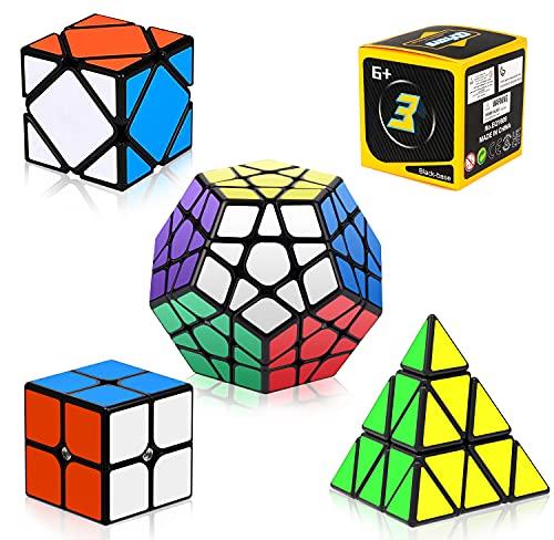 Vdealen Cubos de Velocidad,Juego de Cubos de Velocidad de 2x2 3x3 Pirámide Megaminx Skew Cube Smooth Pegatinas,Cubo Mágico Liso Colección de Rompecabezas [Paquete de 5]