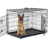 Dog Crate for Large Medium Dogs Folding Dog Kennel Cage with Plastic Tray & Divider 48' Indoor Outdoor Metal Double Door Pet Playpen Heavy Duty Dog Pen Enclosure, Black