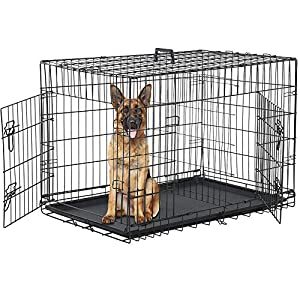 """Dog Crate for Large Medium Dogs Folding Dog Kennel Cage with Plastic Tray & Divider 48"""" Indoor Outdoor Metal Double Door Pet Playpen Heavy Duty Dog Pen Enclosure, Black"""