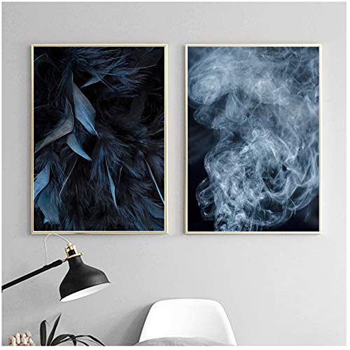 NIESHUIJING veren rook mist landschap muurkunst canvas schilderij-50x70cm geen lijst