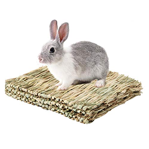 Anyuxin Rabbit Grass Mat - Woven Bed Mat, Bunny Bedding for Small Animals, Natural Straw Woven Bed...