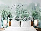 Fotomurales Papel tapiz Papel tapiz 3D personalizado mural nórdico pintado a mano bosque de pinos alces sala de estar Fondo decoración de pared pintura papel tapiz-Aproximadamente 430 * 300 cm 5 ra