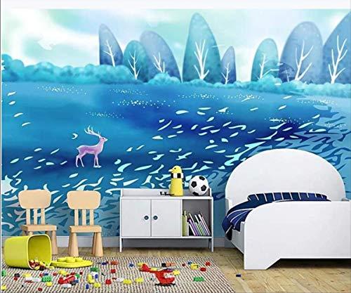 Fotobehang 3d wandbehang voor muren 3 D Hd mooi met de hand beschilderd hertenbos kinderkamer achtergrond muur (H)400*(W)280cm Pro