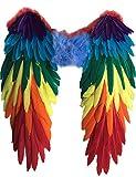 Yummy Bee - Echte Federn Vogelflügel Mehrfarbig Groß CSD Papagai Karneval Fasching Kostüm...