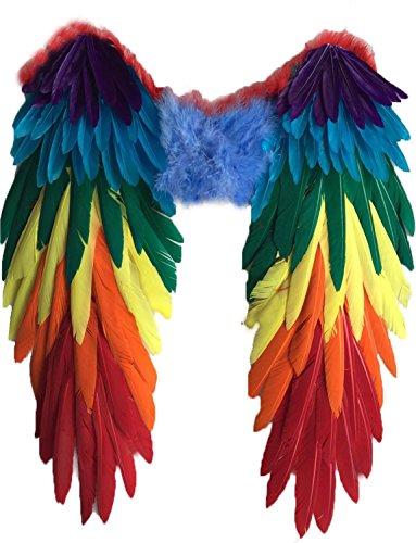 Yummy Bee Alas Plumas Auténticas Colores Vibrantes Fiestas de Disfraces Loro Carnaval Orgullo Halloween Adulto Grandes 48 x 50 cm