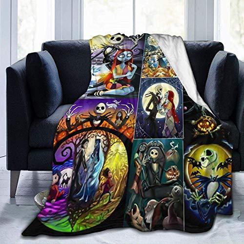 Mantas de cama de forro polar de lujo, Jack Skellington Fan Art Gift Poster mantas de boda, Primavera Ultra Acogedora manta de aire acondicionado, manta para siesta de bebé 80 x 60 pulgadas