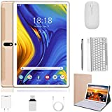 2 in 1 Tablet 10 Inch Android 9.0 Pie Tablets with Keyboard 128GB Expand 4GB RAM 64GB ROM | Dual 4G | WiFi | GPS | 8000mAh | 8MP Camera, Google GMS Certified Tablet PC (Gold)