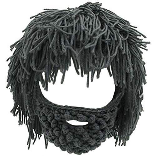 Creative Original Barbarian Knit Beard Hat Wig Beanie Hat Funny Knit Hat Beard Facemask (Dark Grey)