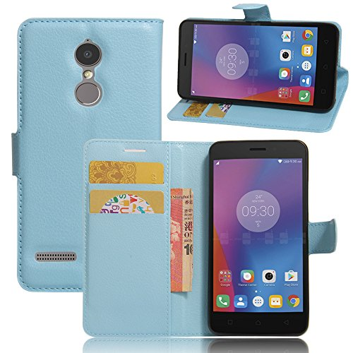 Kihying Leather Phone Case for Lenovo K6 / K6 Power Case Cover Flip Wallet Stand and Card Slots (Blue - JFC07)