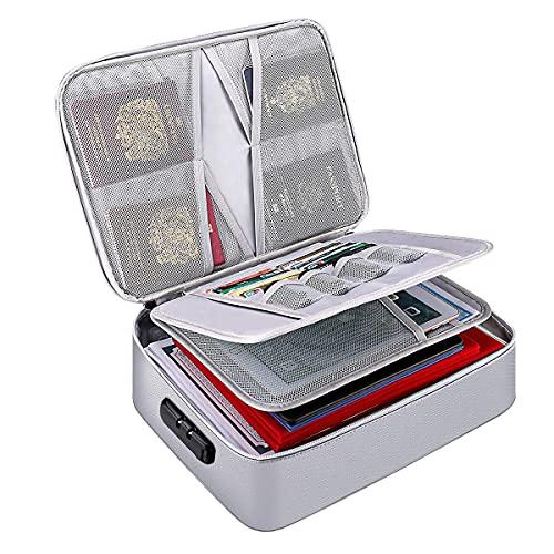 JIEWEI - Carpeta de 3 capas con cierre de cremallera, resistente al agua, bolsa de viaje para ordenador portátil