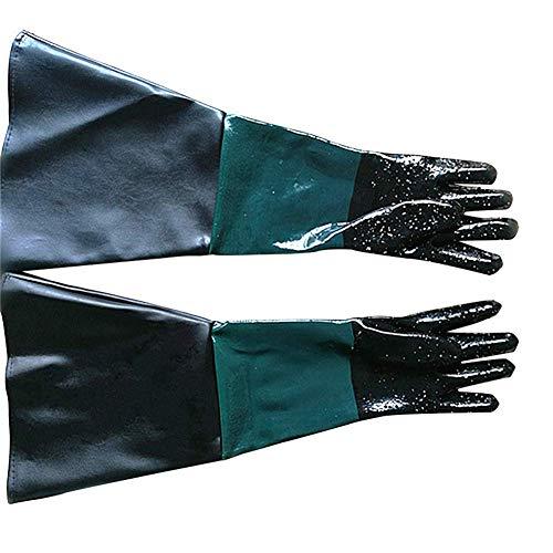 Handschuhe für Sandstrahl-Reinigung, aus Gummi, 59,9 cm, robust, Sandstrahl-Handschuhe, Körnung und Perlen, für Modell 60, 90, 110, 260 Sandstrahlkasten, 1, 2