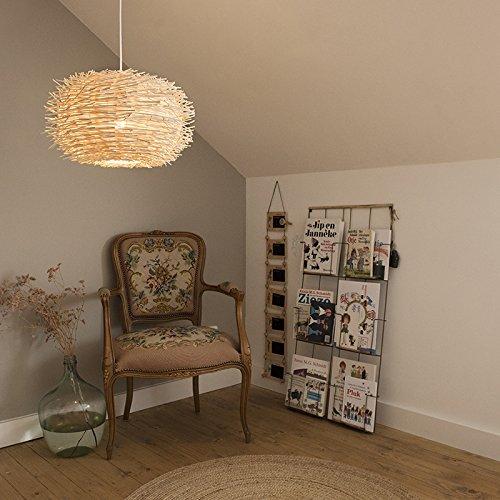 QAZQA Diseño Lámpara colgante rústico ratán blanco - HATCH/Metálica Redonda Adecuado para LED Max. 1 x 60 Watt
