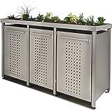 Mülltonnenbox aus Edelstahl mit Edelstahlpfosten, aufgebaut (2X 240l + 1x 120l, F-Design, Pflanzenwanne, Edelstahl)