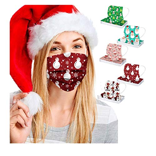 50pcs FDẴ Certified Disposable Face Mask Industriаl 3 Layer Filtеr for Coronàvịrụs Protectịon Christmas Printed Breathable Face Masks (Multicolor E)