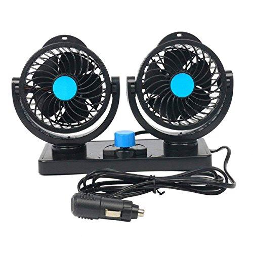 FreeTec - 360 ° Giro 12 V Ventilador Auto Ventilador Ajustable Filtro de Aire de Ventiladores de Alto Rendimiento con 2 Nivel 8 W/15 W Auto Aire Acondicionado Coche Fan