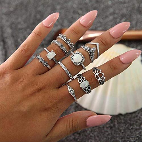 Forall Anillo De Nudillos De Ópalo Bohemio Anillos De Plata Juego De Dedos De Diamantes De Imitación Juego De Joyas Retro Vintage Para Mujeres y Niñas