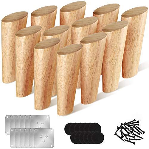 Conjuntos de 12 Patas de Muebles de Madera Maciza 5 Pulgadas Patas de Repuesto Roscadas Natural para Sofá, Silla, Tocador, Estantería, Armario, Mesa de Centro, Aparador, Color Madera