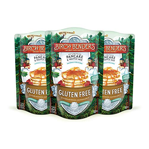 Gluten-Free Pancake and Waffle Mix by Birch Benders, Made with Brown Rice Flour, Potato, Cassava, Almond, and Cane Sugar, Family Pack, Just Add Water, 42 oz. (Three 14 oz. packs)
