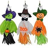 WHCQ 3ピースハロウィンハンギングゴースト、パティオ芝生ガーデンパーティーや休日の装飾のためのパンプキンゴーストストロー吹き流しペンダント(オレンジ+ホワイト+グリーン)