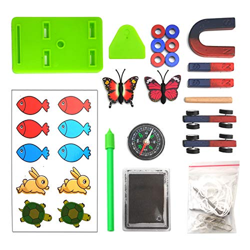 EUDAX Labs Junior Science N/S Magnet Set for Education Science Experiment Tools Icluding Bar/Ring/Horseshoe/Compass Magnets
