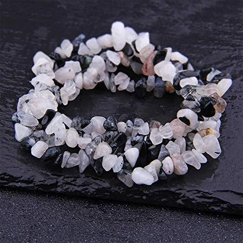 FISH4 Natural Lapis Opal Cuarzo Fluorita Amethys Freeform Chip Stone Beads DIY Collar Pulsera Fabricación de Joyas 15'- Cuarzo rutilo Negro