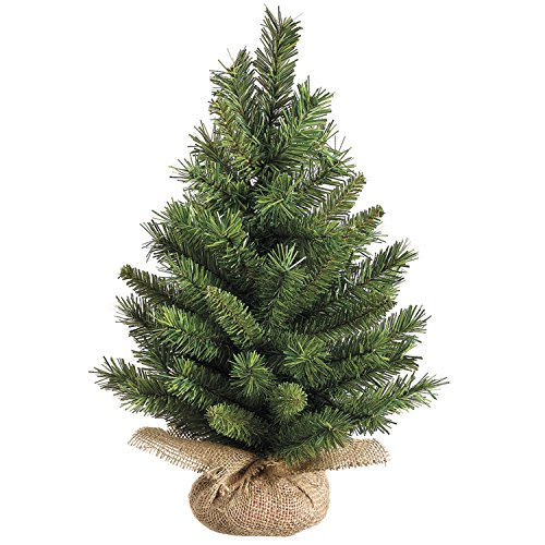 18 Inch High X 12 Inch Wide Tabletop Christmas Pine Tree with Burlap Base, Artificial Pine
