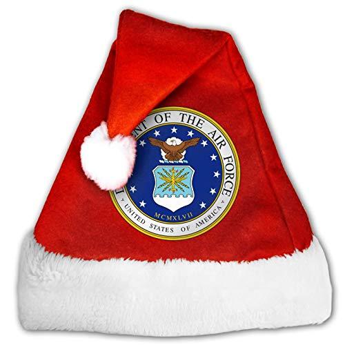 Usair Force Unisex Weihnachtsmannmütze, Komfort Rot und Weiß Plüsch Samt Weihnachten Party Hut Gr. M, 3