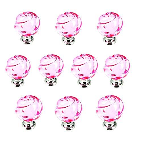 Crystal Trekken Decoratieve Knoppen 10 Stks-Set 25 MM Multi kleuren Rose Bloem Helder Kristal Glas Knoppen Met Gepolijst Zilver Kleur Basis, Kast Kast Dressoir Closet Mini Kast Handgrepen voor Meubilair