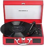 Ricatech RTT21 Tocadiscos, Reproductor de Discos portátil liviano con Altavoces, Tres velocidades,soporta Salida RCA,Bluetooth,Reproductor de MP3.Reproductor de Vinilo Estilo Maleta Exclusivo (Rojo)