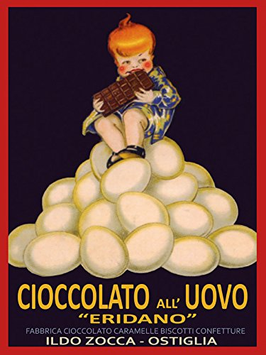 """Blond Girl Eating Chocolate Eggs Cioccolato Uovo Italy Italia Italian Food Vintage Poster Repro 12"""" X 16"""" Image Size. We Have Other"""