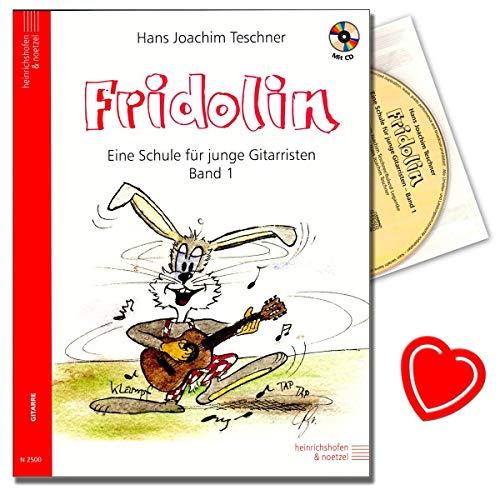 FRIDOLIN eine Schule für junge Gitarristen Band 1 (+CD) mit Notenklammer - über 100 Liedern und Übungen für Kinder ab 7 Jahre - von Hans Joachim Teschner - Kinderlieder, Scherzlieder, Folklore aus Deutschland und aus der ganzen Welt