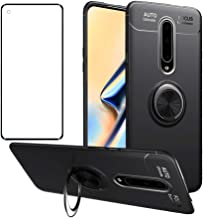 Phone Case for Oneplus 8 with Tempered Glass Screen Protector Cover and Ring Holder Stand Kickstand Cell Accessories Slim ...