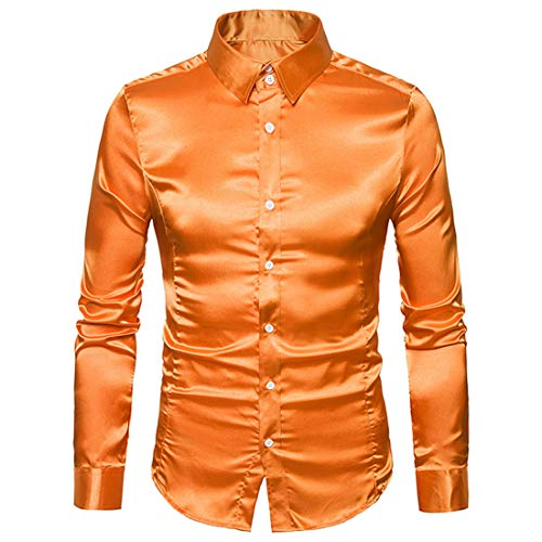 PANBOB Men Shirt Men Business Shirt Comfortable Elegant Pure Color Simple Button Long-Sleeved Spring Autumn Fashion Smooth Fabric Wedding Men Shirt F-Orange XL