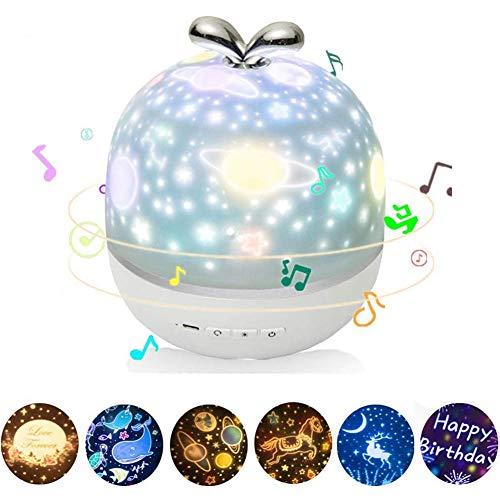 YUANZHU Star Night Light Lámparas para Proyectores 360 Grados con Carga USB, 6 Patrones Proyector LED para Fiestas Boda Cumpleaños Dormitorio, Baby Sleep Aid,Plug in