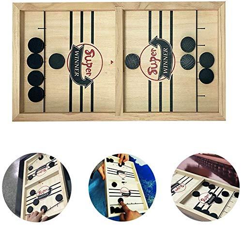 LYPXX Schnelles Sling Puck Brettspiel, Paced Sling Puck Winner Board, Indoor Family Interaktives Spiel, Mini Wooden Tabletop Sling Puck Spiel, Fun Toys für Kinder (1 Satz)