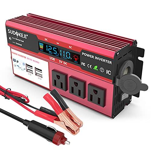 SUDOKEJI 500W car Power Inverter DC 12V to AC 110V 120V car Plug Inverter Adapter Power Converter,...